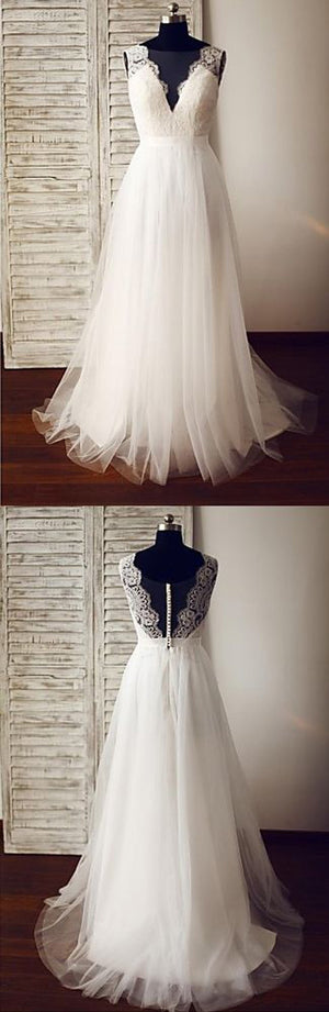 Popular V Neck Tulle Lace Formal Long Beach Wedding Dresses, PM0639 - Prom Muse