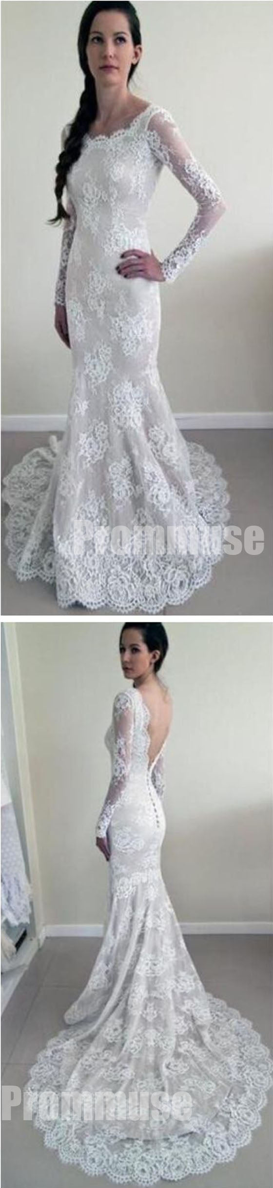 Long Sleeves Mermaid Backless Lace Long Cheap Wedding Dresses, PM0642
