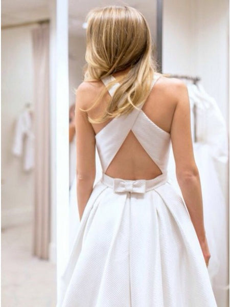 Simple Cheap Formal Cross Back Long Brides Wedding Dresses, PM0630