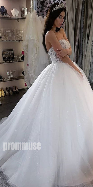 Unique Applique Sweetheart  Tulle Long Wedding Dresses, PWD002