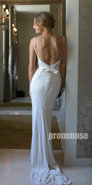Open-back Mermaid V Neck Sexy Inexpensive Long  Wedding Dresses, PWD004