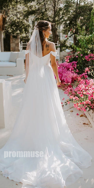 Off-the-Shoulder Sweetheart  Formal Long Brides Wedding Dresses, PWD005