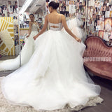 Sexy Open Back Spaghetti Strap Rhinestone Unique Long Wedding Dresses, PWD001