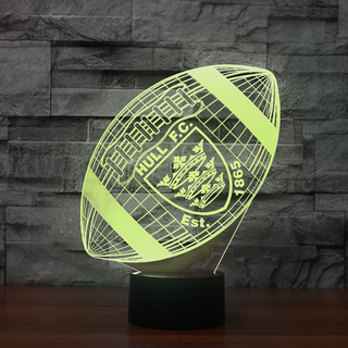 3DRugbyEng0-04 - Hull FC 3D Illusion Lamp 7 Color Changeable Night Lights