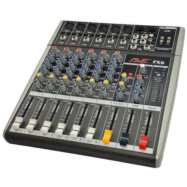 ave strike fx6 6 microphone input mixer with 16 fx and usb player cannon sound and light. Black Bedroom Furniture Sets. Home Design Ideas
