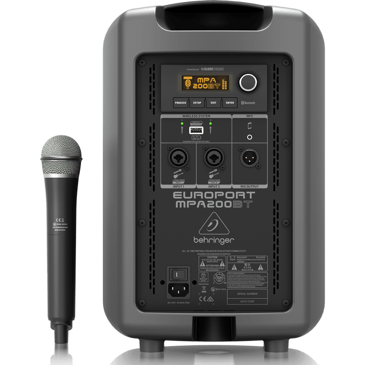 Behringer EUROPORT MPA200BT All-in-one Portable 200W PA System w/ Wireless  Microphone, Bluetooth Connectivity and Battery Operation