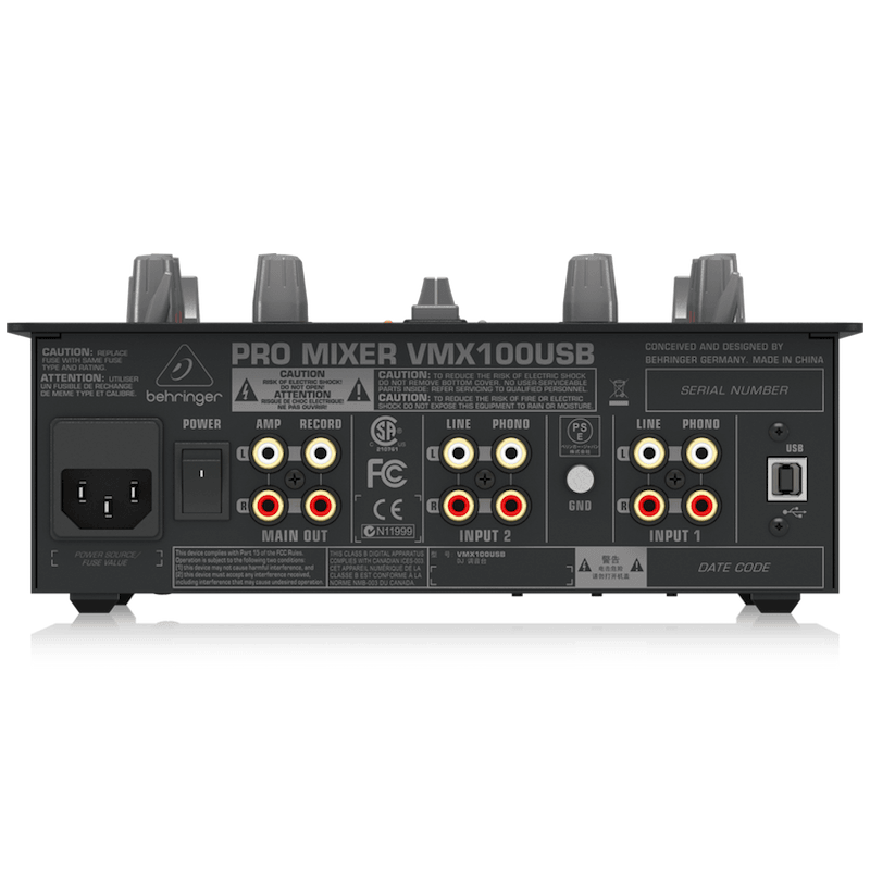 Behringer VMX100USB Professional 2-Channel DJ Mixer with USB/Audio  Interface, BPM Counter & VCA Control