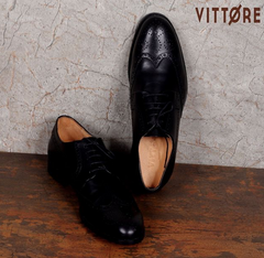Italian Brogue Wing Tip Leather Shoes