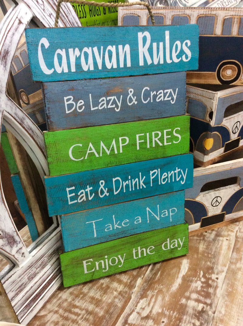 Timber sign - Caravan Rules -   30 cm x 47 cm