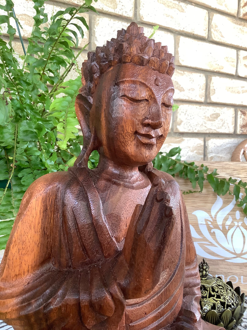Timber carved Buddha statue - 30 cm