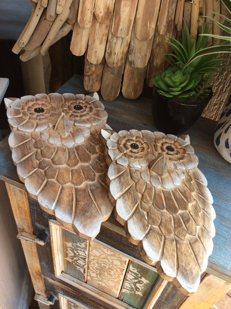 Set of 2 Timber Owls - wall hangings