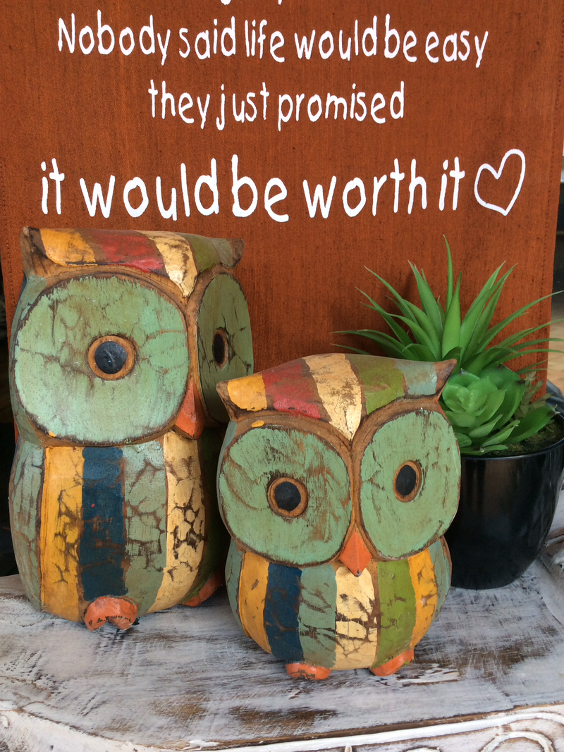 Set of 2 Timber Owls - 15/21 cm