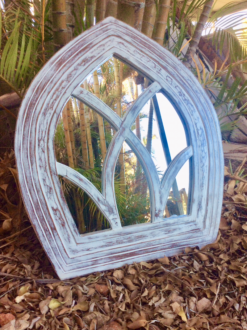 Cathedral style  mirror - white wash -   60 cm x 80 cm