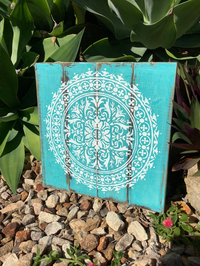 Mandala Print on Aqua Board