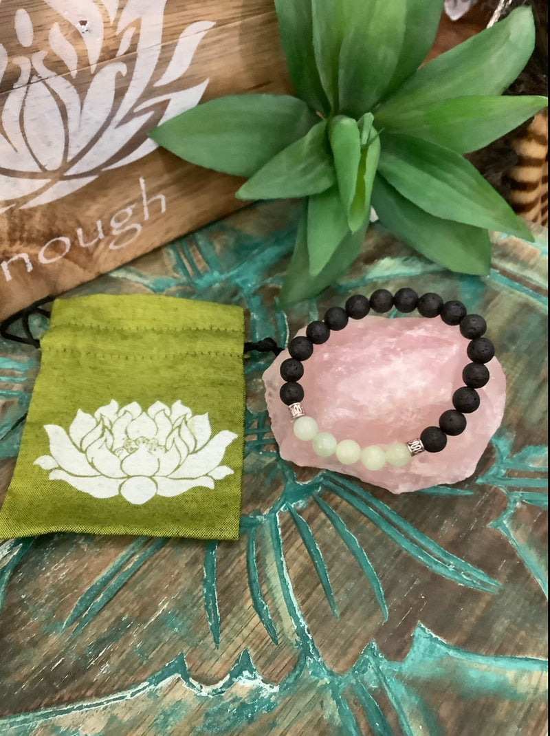 Gem Stone Bracelet - Lava Rock and New Jade