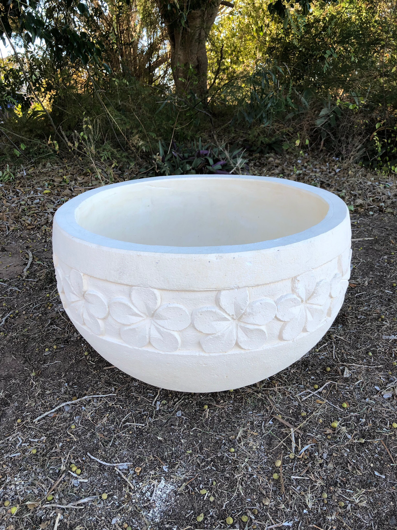 Frangipani design Concrete bowl - cream