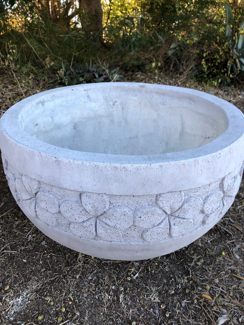 Frangipani design Concrete bowl - grey