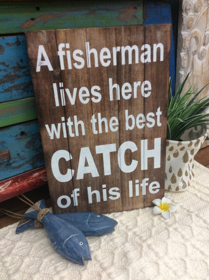 Timber Sign - Fisherman