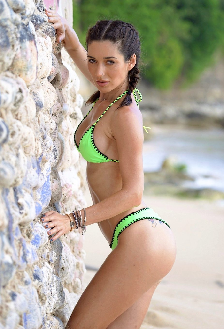 Jomie Bikini neon green crochet detail cheeky scrunch bottom