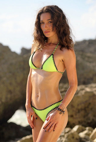 SOLD OUT - Neon Green/ Neon Yellow Crochet detail Triangle Bikini SET