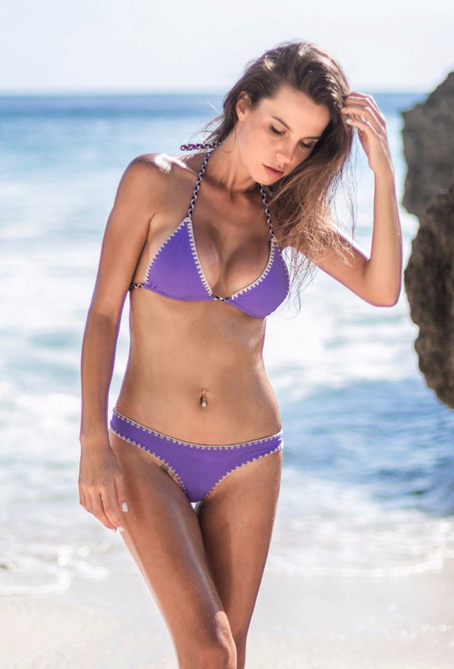 Jomie Bikini purple crochet detail handmade suit