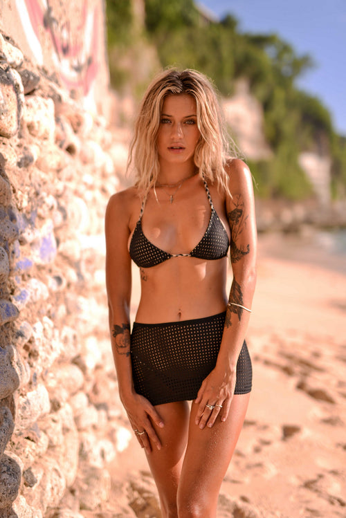 Black Mesh Triangle Bikini SET