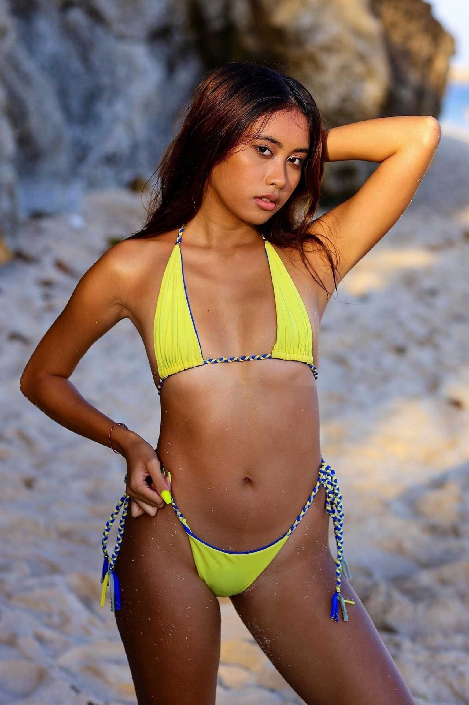 Triangle Reversible Bikini SET - Cobalt/Lemon
