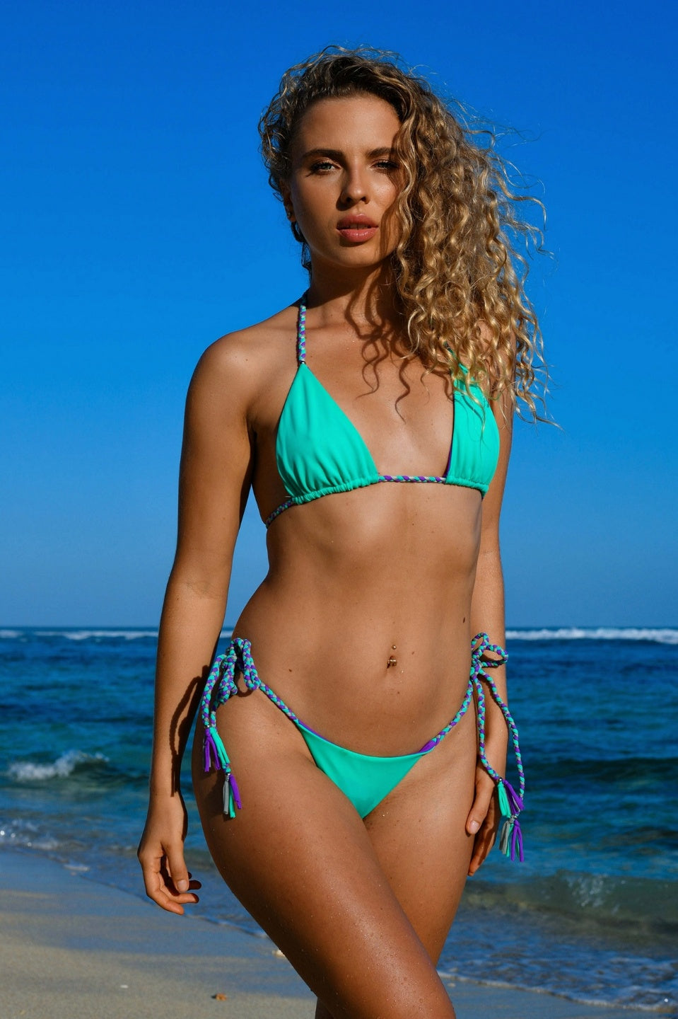 Triangle Reversible Bikini SET - Violet/Seafoam