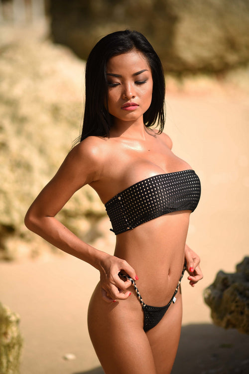 SOLD OUT - Black Mesh Bandeau Bikini SET