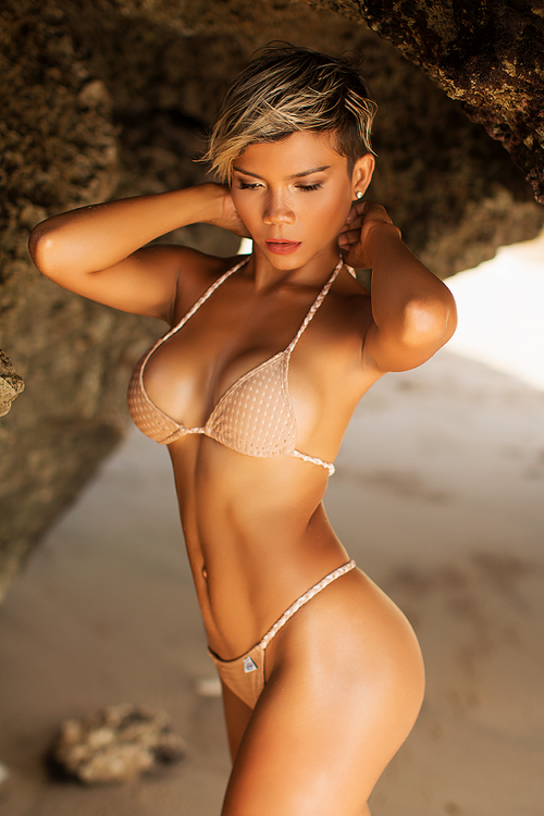SOLD OUT - Nude Mesh Triangle Bikini SET