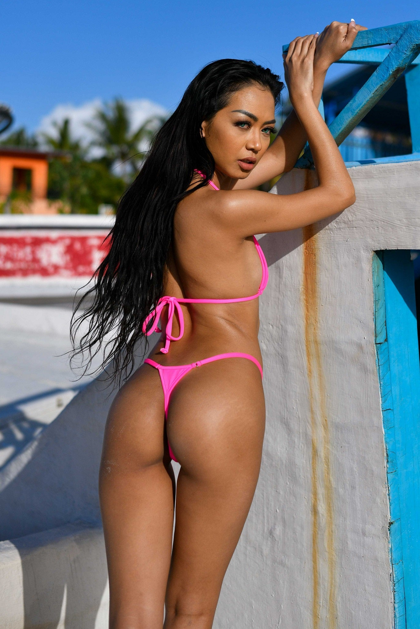 Summer Thong Bikini SET - Neon Pink