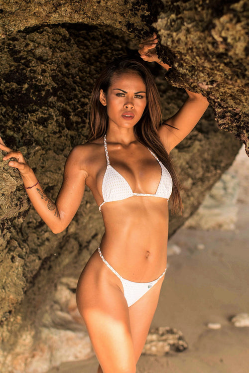 SOLD OUT - White Mesh Triangle Bikini SET