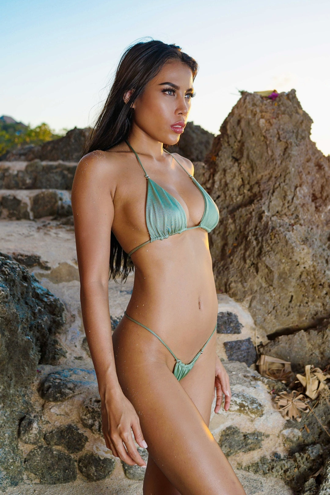 Scrunch String Bikini SET - Sage