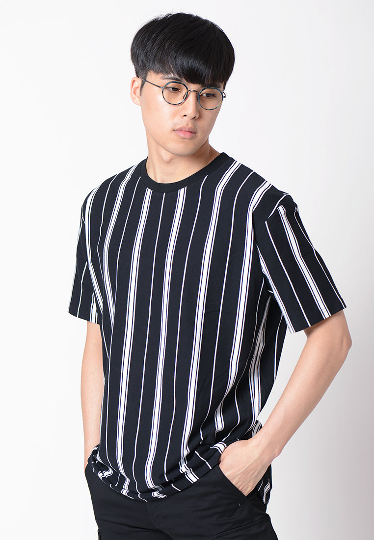 Vertical Stripe Graphic T-shirt