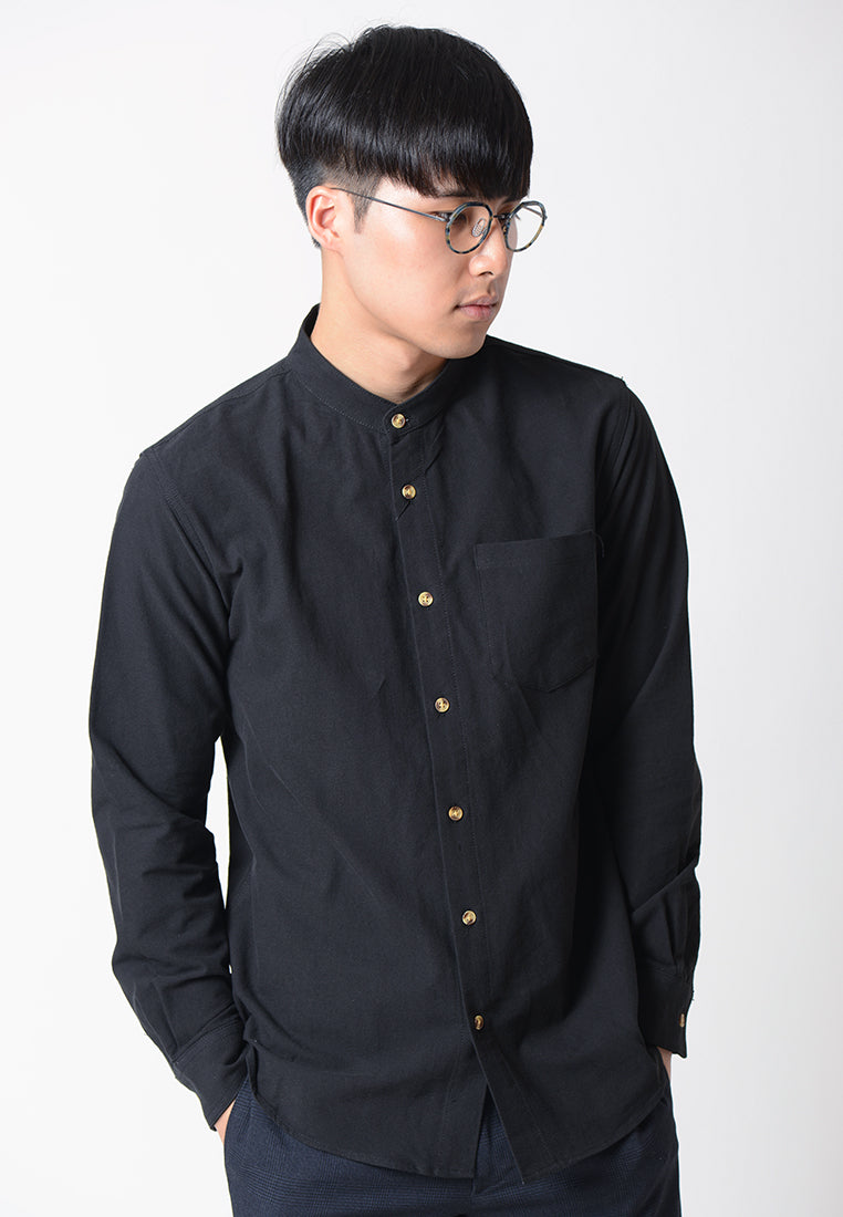 Stand Collar Long Sleeves Shirt