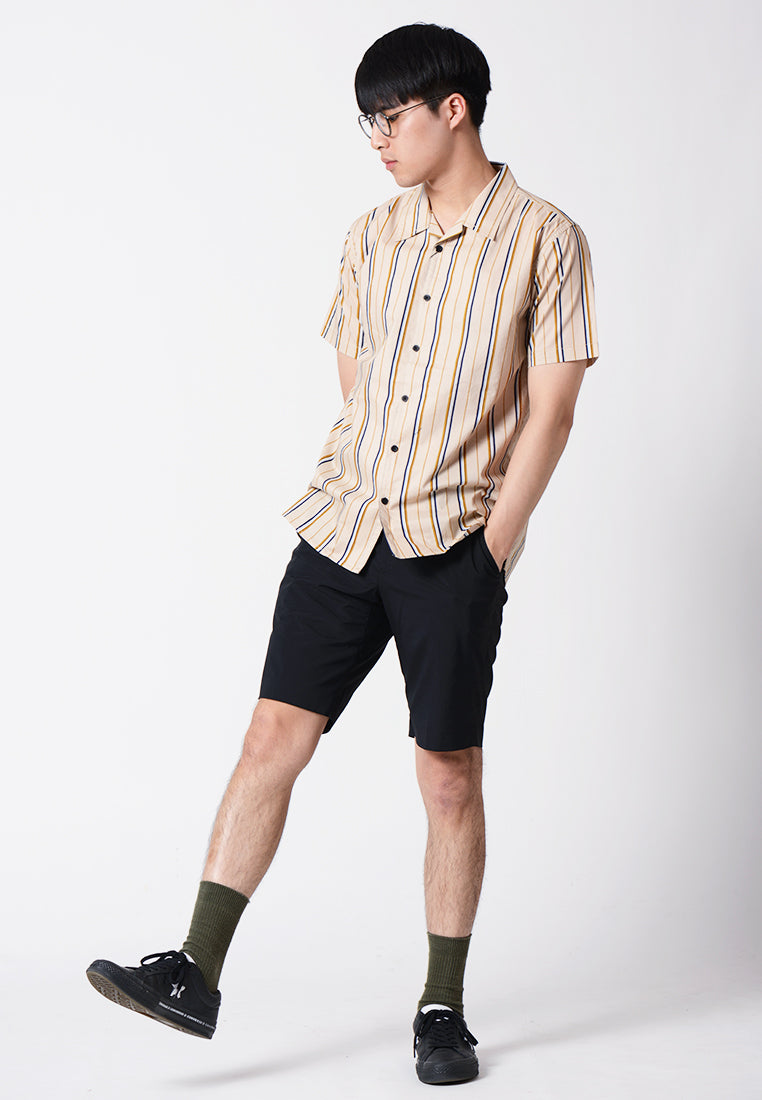 Vertical Stripe Short Sleeves Shirt