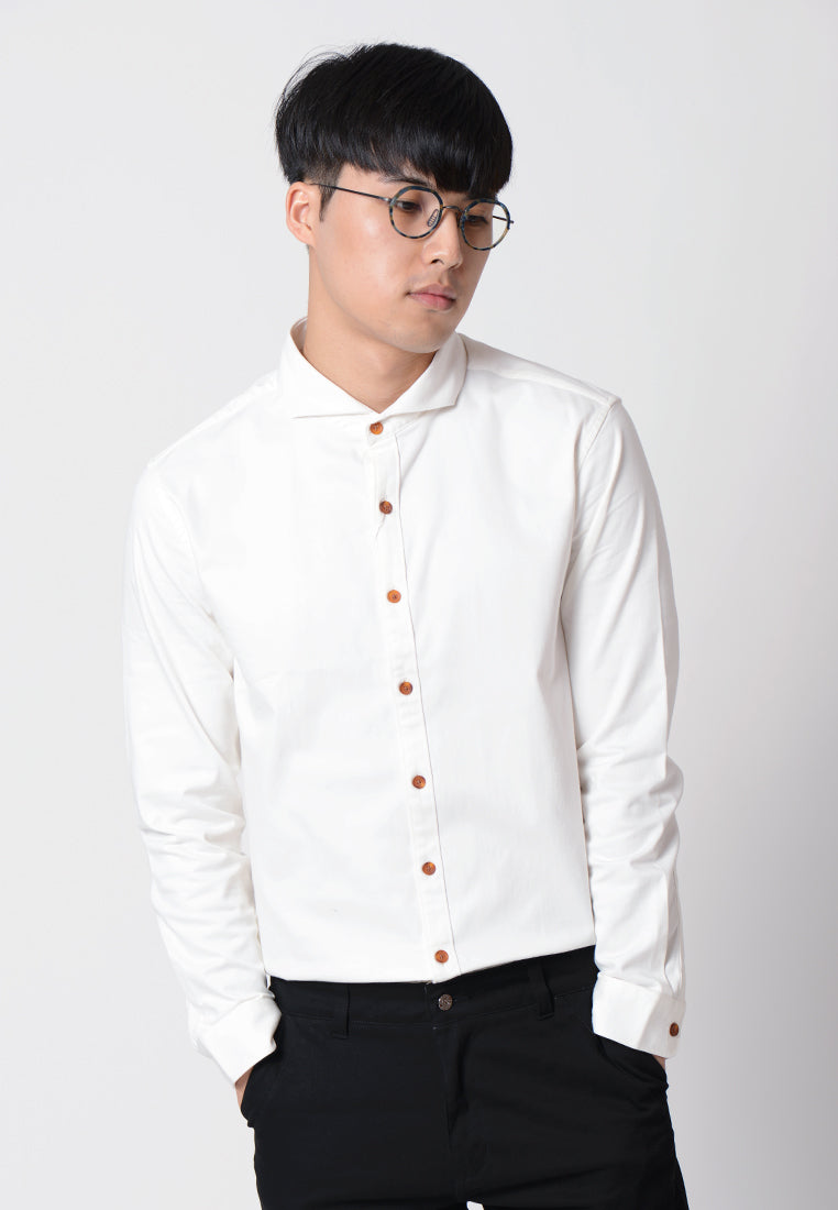Plain Collar Long Sleeves Shirt