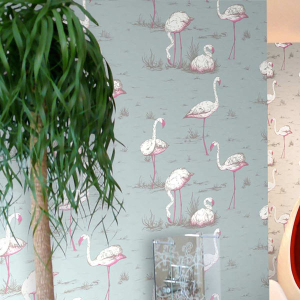 Flamingo Tapet, gråblå - Cole & Son