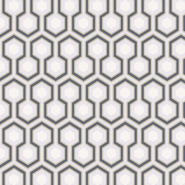 Hicks Hexagon Tapet, grå/koksgrå. Cole & Son