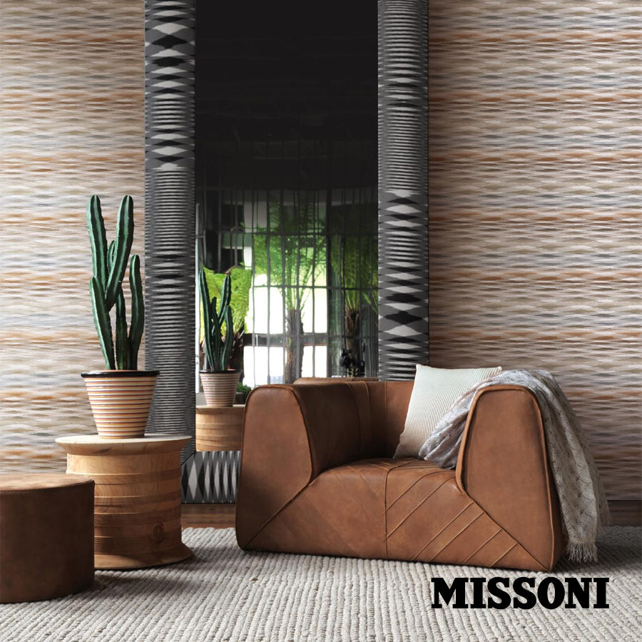 Missoni tapet. Fireworks. Grey/Tobacco.