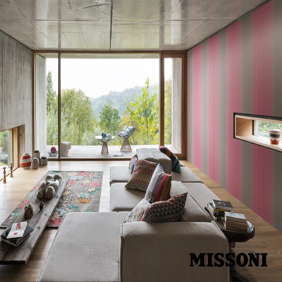 Missoni stribet tapet. nougat/rose, Vertical Stripe