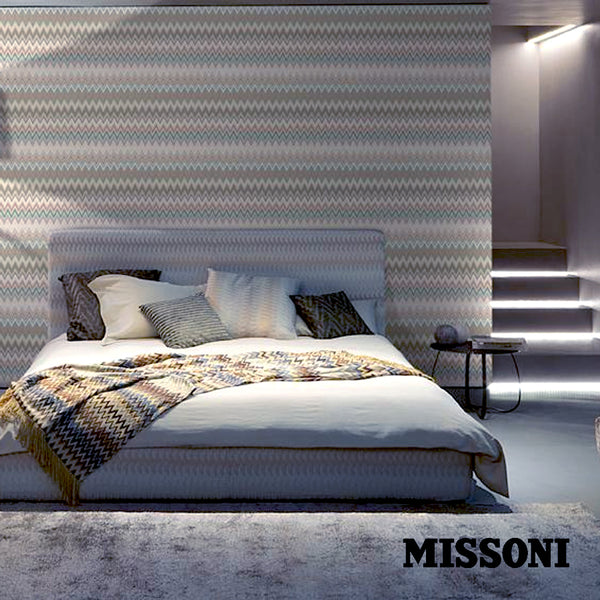 Missoni tapet. duckegg, Zig zag multicolore