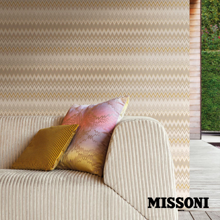 Missoni tapet. Sand/kit, Zig zag multicolore