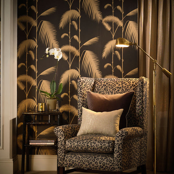 Palm Leaves Tapet, sort/beige m. guld detaljer. Cole & Son
