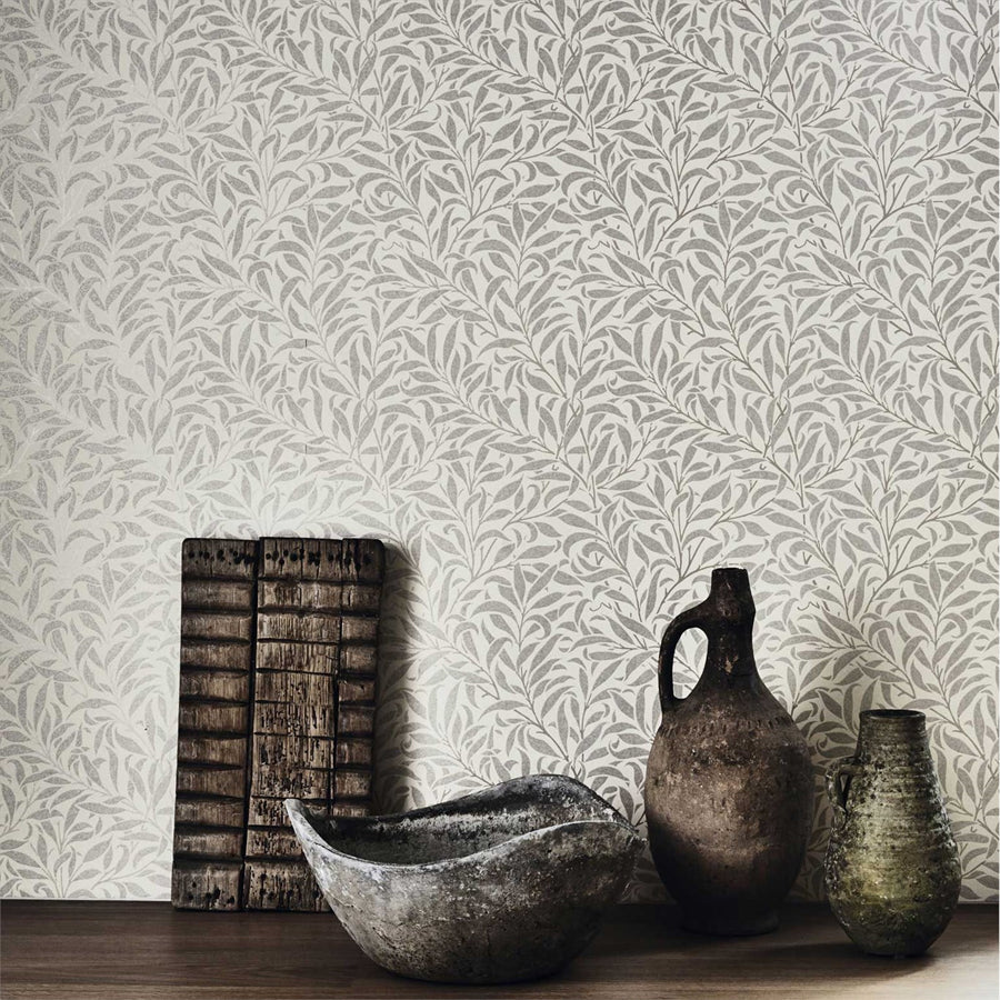 Pure Willow Bough Tapet, silver/ecru. William Morris