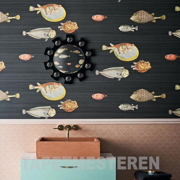 sort tapet med fisk, cole & son acquario