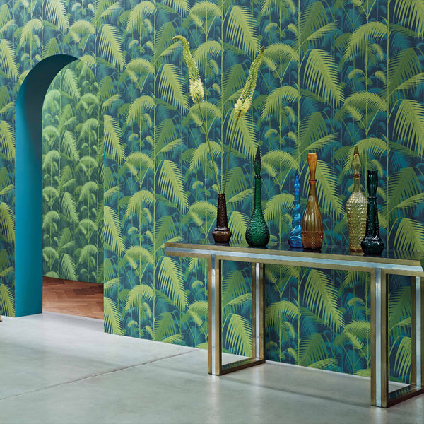 Palm Jungle Tapet. Blue/lime - Cole & Son Icons