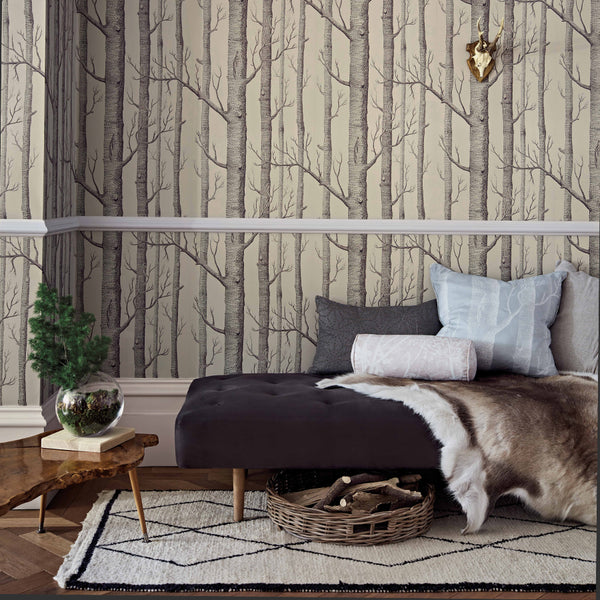 Woods Tapet. Linen/charcoal, Cole & Son Icons