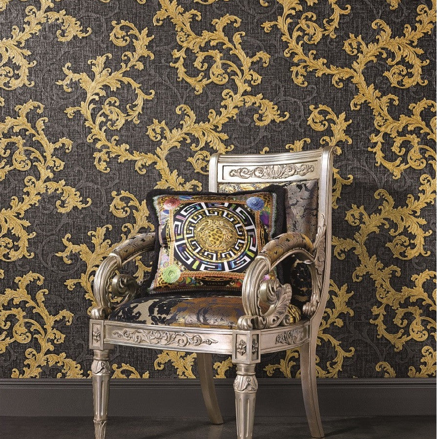 Versace Tapet, Baroque and Roll guld/sort
