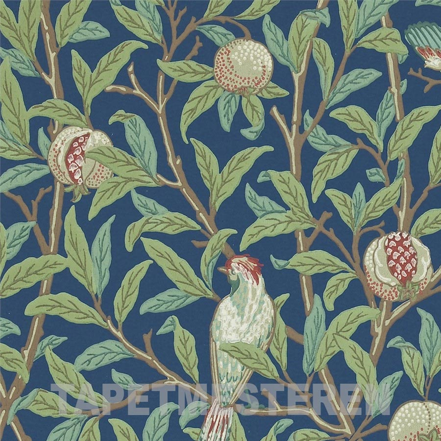 Bird & Pomegranate Tapet. Mørk blå. William Morris tapet.